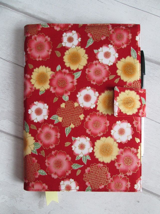 A5 Oriental Flowers on Red Reusable Notebook Cover
