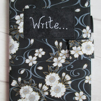 A5 Monochrome Floral Reusable Notebook Cover