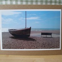 Boat by the Sea Photo Greetings Card