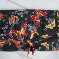 SALE - Red and Gold Butterfly Clutch Bag
