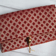 Terracotta and Gold Chenille Clutch Bag