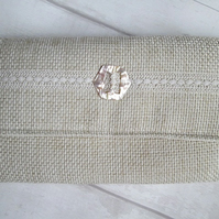 Cream Clutch Bag with Vintage Lace and Mother of Pearl Buckle