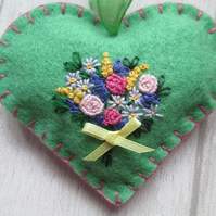 Soft Green Felt Heart with Hand Embroidered Bouquet of Flowers