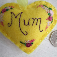 'Mum' Hand Embroidered Yellow Felt Keepsake Heart with Flowers