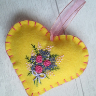 Yellow Felt Heart with Hand Embroidered Bouquet of Flowers