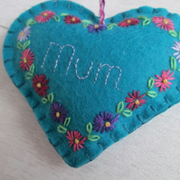 'Mum' Turquoise Felt Keepsake Heart Hand Embroidered with Pink Purple Daisies