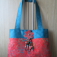 Orange and Teal Floral Batik Handbag