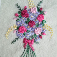 Hand Embroidered Bouquet of Flowers in Solid Oak Frame