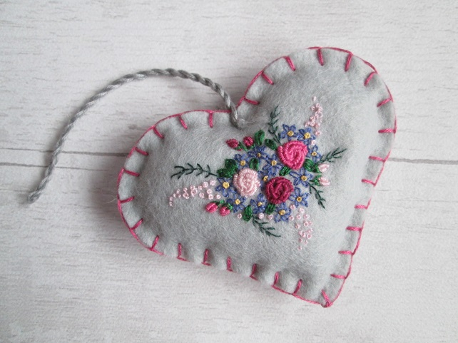 Silver Grey Felt Keepsake Heart with Hand Embroidered Bouquet of Flowers