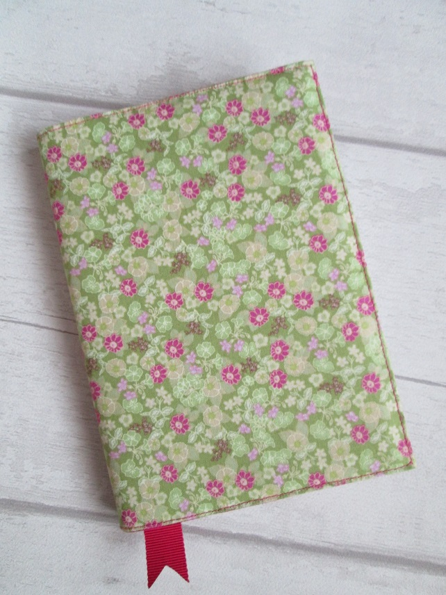 A6 Green and Pink Ditsy Floral Reusable Notebook, Diary Cover