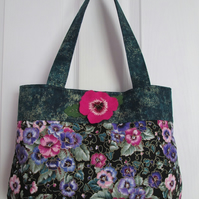 Pink and Purple Pansy Print Handbag with Handcrafted Felt Pansy