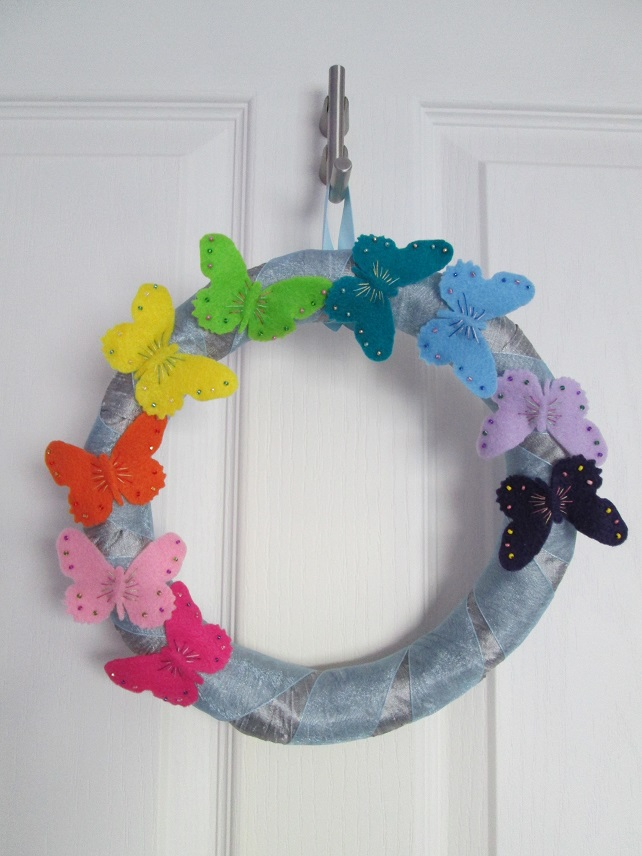 Rainbow Butterflies Hanging Wreath Decoration