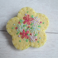 Hand Embroidered Lemon Yellow Felt Flower Brooch