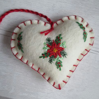 Hand Embroidered Poinsettia Christmas Decoration