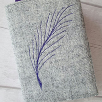A6 'Harris Tweed' Reusable Notebook, Diary Cover - Silver Grey with Purple Quill