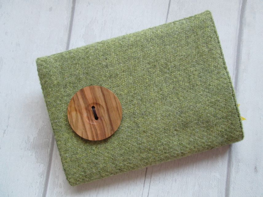 A6 'Harris Tweed' Reusable Notebook, Diary Cover - Olive with Handturned Button