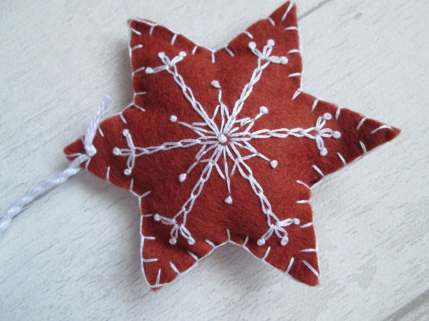 Hand Embroidered Felt 'Gingerbread' Snowflake Tree Decoration - I