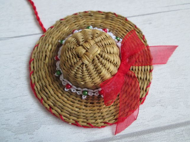 Christmas Hat Tree Decoration - Lace and Beads with Organza Bow
