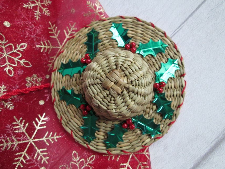 Christmas Hat Tree Decoration - Holly and Berries