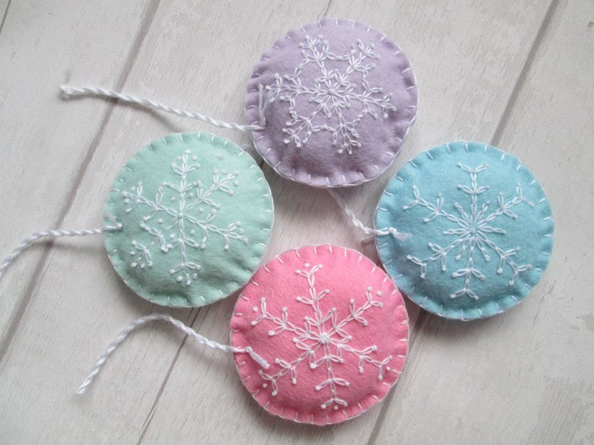 Set of 4 Hand Embroidered Snowflake Decorations - Pastel Shades