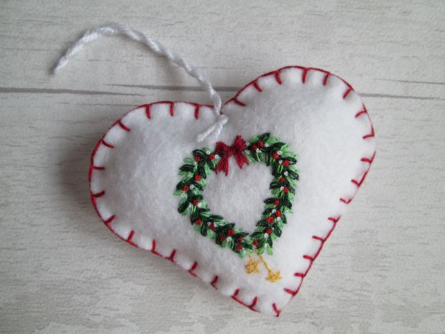 Hand Embroidered Holly and Mistletoe Wreath Felt Christmas Decoration