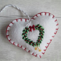SOLD - Hand Embroidered Holly and Mistletoe Wreath Felt Christmas Decoration