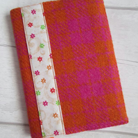 A6 'Harris Tweed' Reusable Notebook, Diary Cover - Pink & Orange Check
