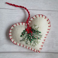 Hand Embroidered Kissing Bunch Christmas Decoration on Cream