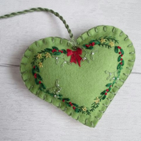 Hand Embroidered Festive Foliage Wreath on Green Felt Heart