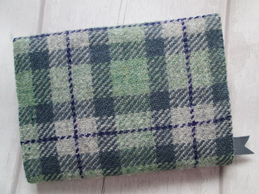 A6 'Harris Tweed' Reusable Notebook, Diary Cover - Grey, Green, Purple Check