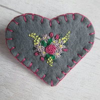 Grey Felt Heart Brooch with Hand Embroidered Spray of Flowers