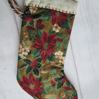 SALE - Poinsettia and Holly Festive Stocking