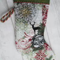 SALE - Winter Collage Christmas Stocking