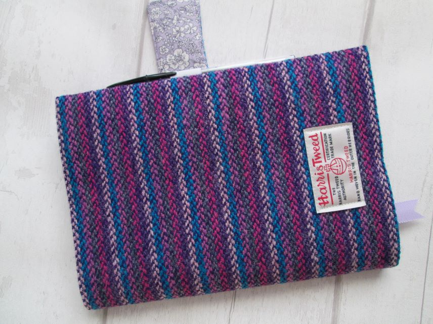 A5 'Harris Tweed' Reusable Diary Cover - Pink, Purple, Teal, Liberty Lining