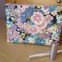 Blue and Purple Floral Make Up Bag, Storage Bag, Pencil Case