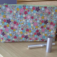 Funky Floral Zip Top Storage Bag, Make Up Bag, Pencil Case, Tablet Case
