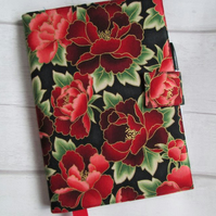 A5 Reusable Notebook Cover - Red Paeonies on Black