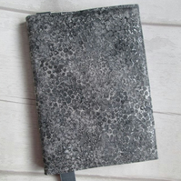A6 Reusable Notebook or Diary Cover - Grey and Silver Shimmer