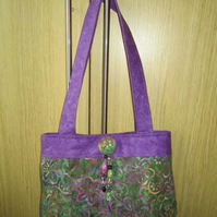 Green and Purple Floral Batik Bag
