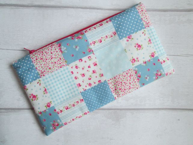 Pink & Blue Patchwork Effect Zip Top Storage Bag, Make Up Bag, Pencil Case