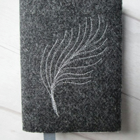 A6 'Harris Tweed' Reusable Notebook, Diary Cover - Charcoal with Quill