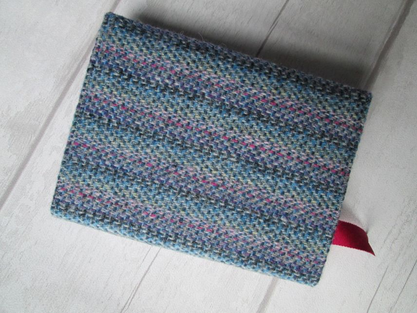 A6 'Harris Tweed' Reusable Notebook, Diary Cover - Pastel Stripe