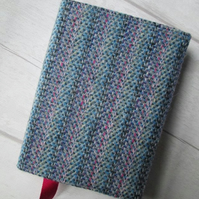 SOLD - A6 'Harris Tweed' Reusable Notebook, Diary Cover - Pastel Stripe