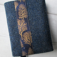 A6 'Harris Tweed' Reusable Notebook, Diary Cover - Navy with Gold Trees