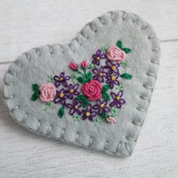 SOLD - Hand Embroidered Floral Heart Brooch - Silver Grey