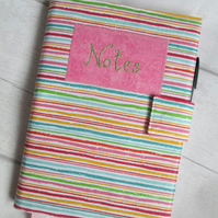 SOLD - A5 Reusable Notebook Cover - Tutti Fruitti Multicolour Stripe