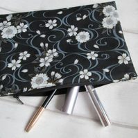 Monochrome Floral Zip Top Storage Bag, Make Up Bag, Pencil Case