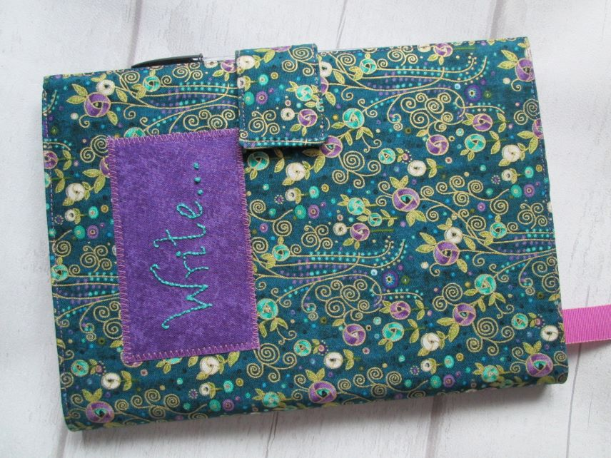 A5 Reusable Notebook Cover - Mackintosh Style Floral Print, Fabric Notebook