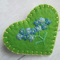 Hand Embroidered Forget Me Not Felt Heart Brooch