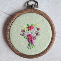 Tiny Bouquet Hand Embroidered Mini Hoop